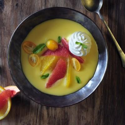 קינוח פודינג תפוזים וחלב קוקוס