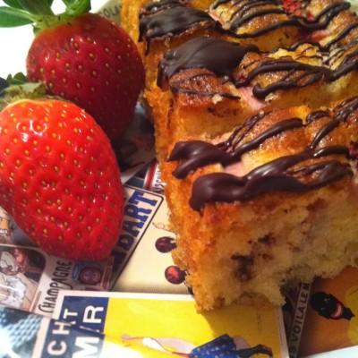 עוגת נוטלה ותותים בציפוי שוקולד מריר