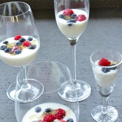 מעדן חלב עם פירות יער ודבש