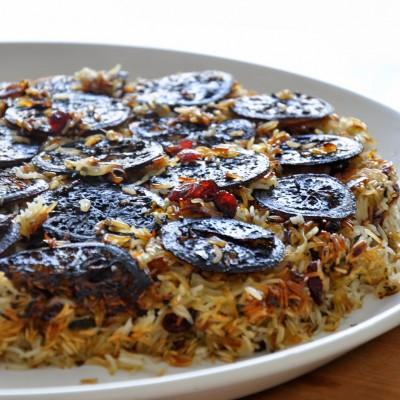 אורז הפוך עם לימונים מקורמלים