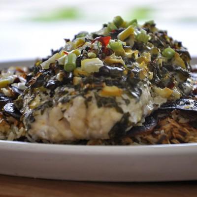 פילה של לוקוס צלוי בתנור בתערובת עשבי תיבול טריים